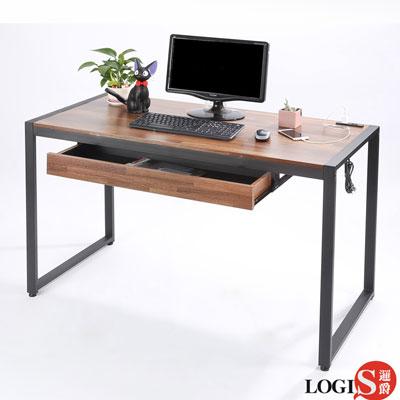LOGIS耐磨防潑水工業風插座工作桌辦公桌 主管電腦桌 (長 128 x寬 60 x高 77 公分)