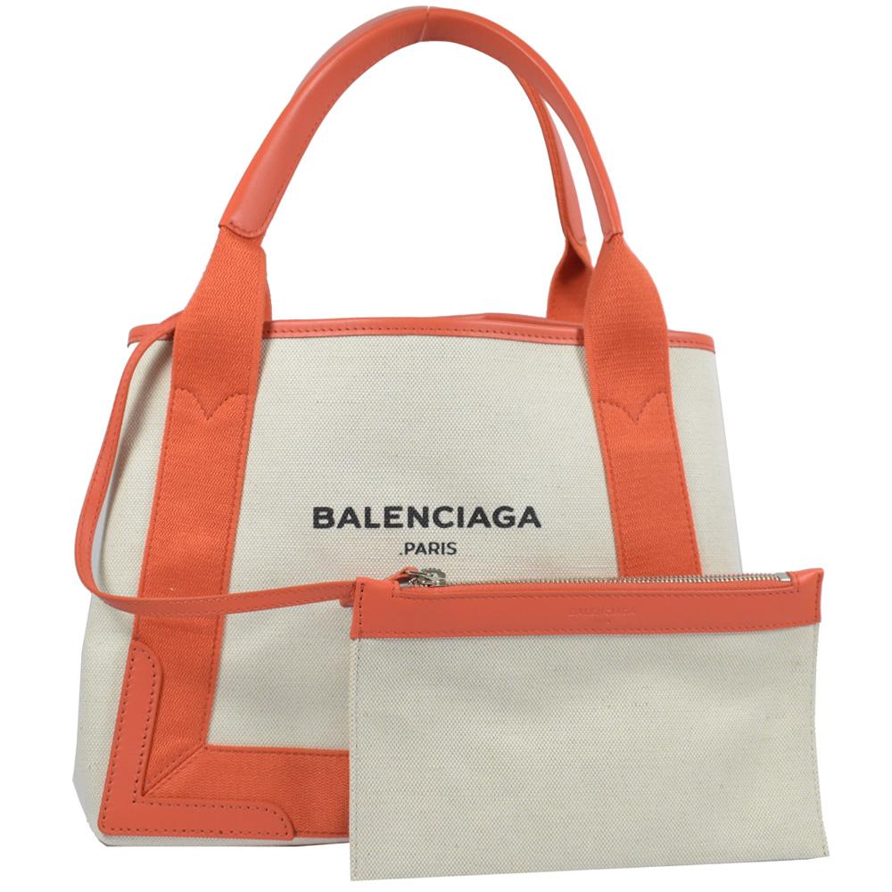 BALENCIAGA NAVY系列logo帆布托特包(橘)