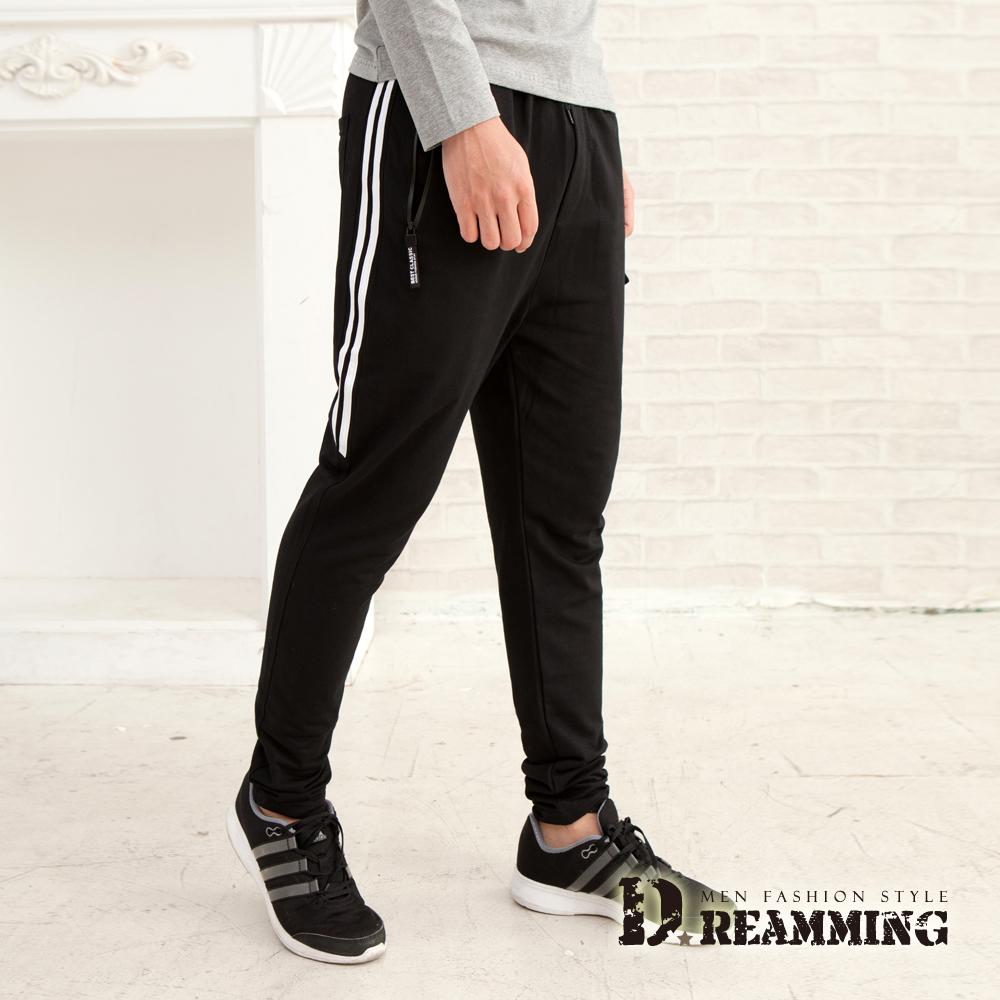 Dreamming 極簡滾邊不起球休閒運動棉褲-共三色