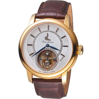 San Dimas聖迪瑪斯陀飛輪鑲鑽腕錶-44mm/白色