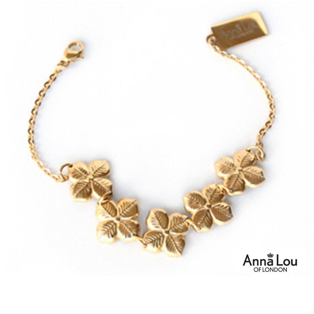 Anna Lou OF LONDON 倫敦品牌 優雅風信子hyacinth花朵金手鍊