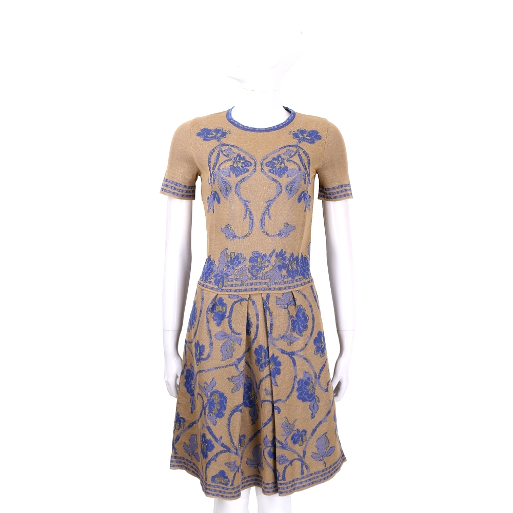 ALBERTA FERRETTI 駝色圖騰設計短袖針織洋裝