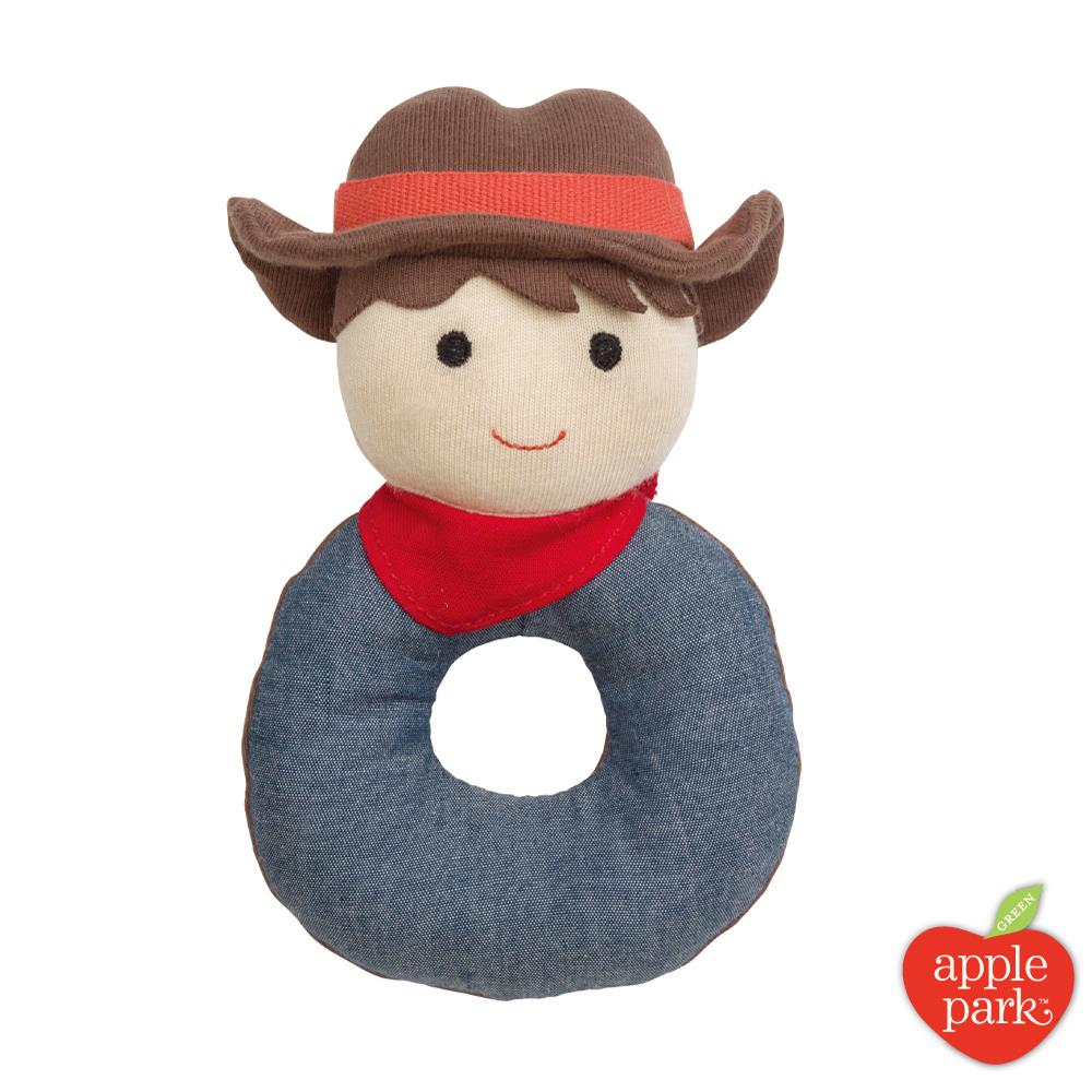 美國 Apple Park 農場好朋友系列 有機棉啃咬手搖鈴 - 農場男孩