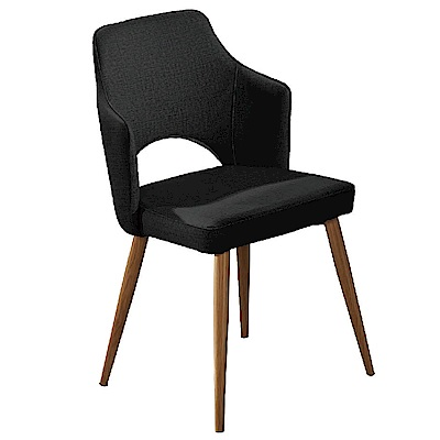 AT HOME 艾拉黑皮造型鐵藝餐椅