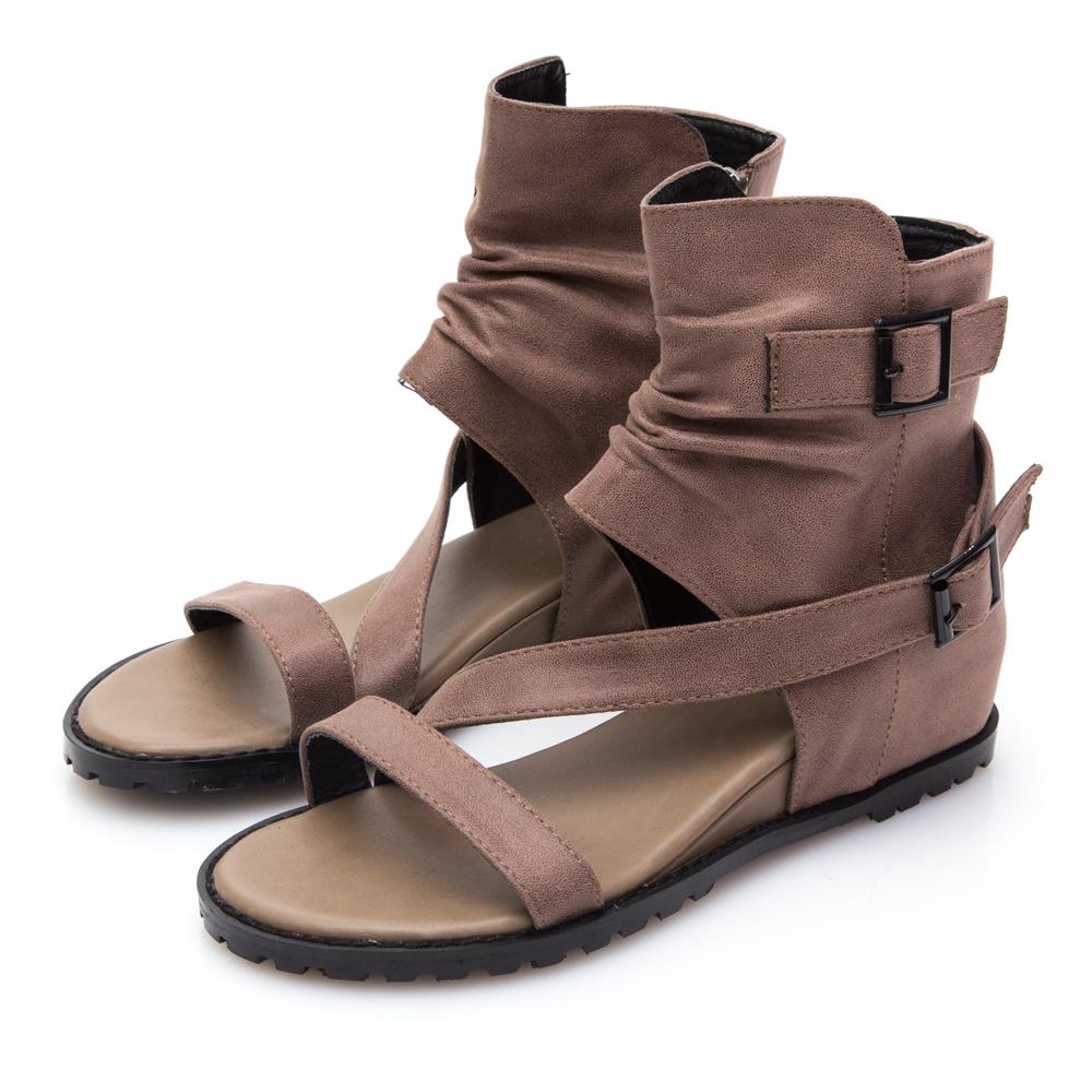 JMS-斜帶搭扣靴型內增高羅馬涼鞋-棕色