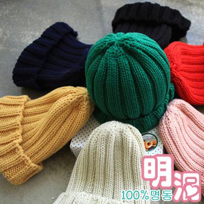 亮彩多色經典款針織毛線帽 (共九色)-100%明洞
