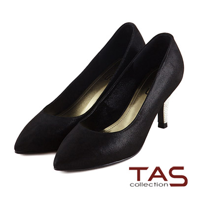 TAS-光澤感羊皮珍珠鞋跟蝴蝶結尖頭高跟鞋-晚宴黑