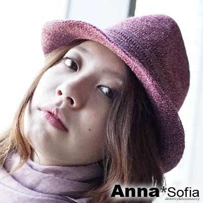 AnnaSofia-雪點織帶-細線織中折帽-酒紅系