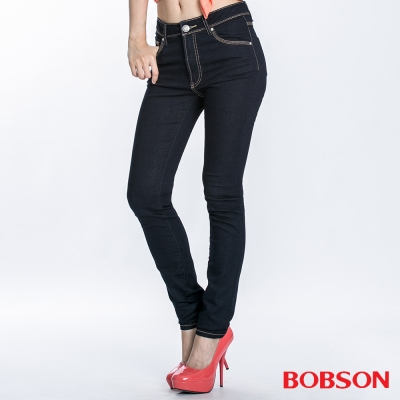 BOBSON 女款超彈力中腰貼腿小直筒褲