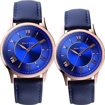 RELAX TIME RT58 經典學院風格對錶-藍x玫瑰金框/42+36mm