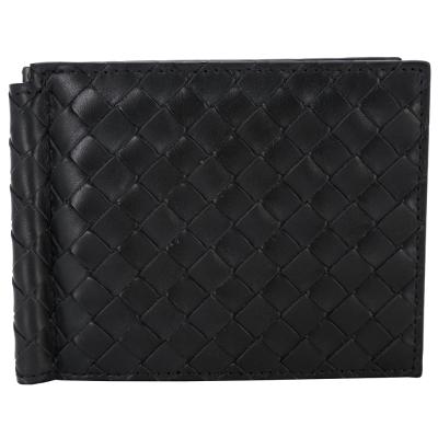 BOTTEGA VENETA 經典羊皮編織金屬夾皮夾(深灰色)