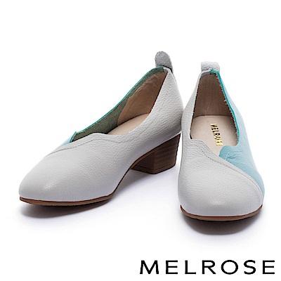 低跟鞋 MELROSE 復古俏麗撞色拼接感牛皮低跟鞋-藍