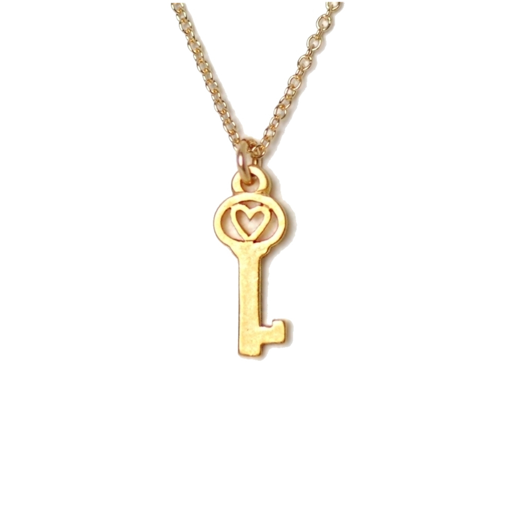 Dogeared 美國品牌Reminder金色許願項鍊-愛心鑰匙