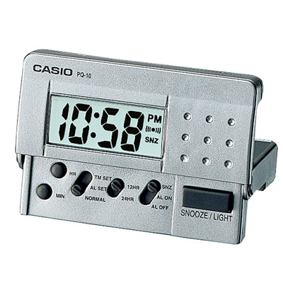 CASIO 輕巧隨身型數字電子鬧鐘(PQ-10D-8)-灰