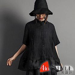 原宿風純色棉麻短袖襯衫 (黑色)-4inSTYLE形設計