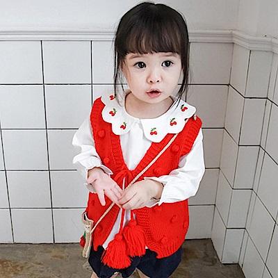 Baby unicorn 紅色球球流蘇綁帶針織背心