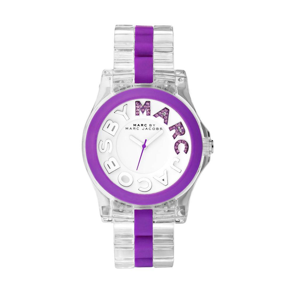 Marc Jacobs MARC 繽紛晶鑽時尚玻麗腕錶-透明/紫/40mm