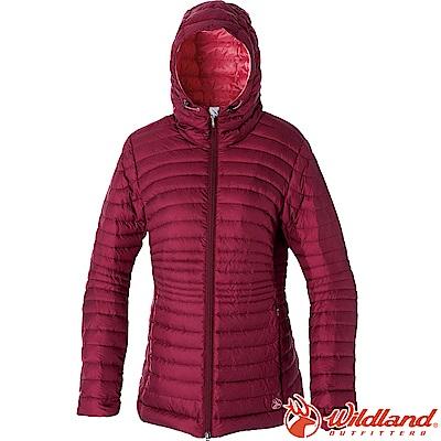 Wildland 荒野 0A52111-07酒紅 女700FP輕量時尚連帽羽絨衣