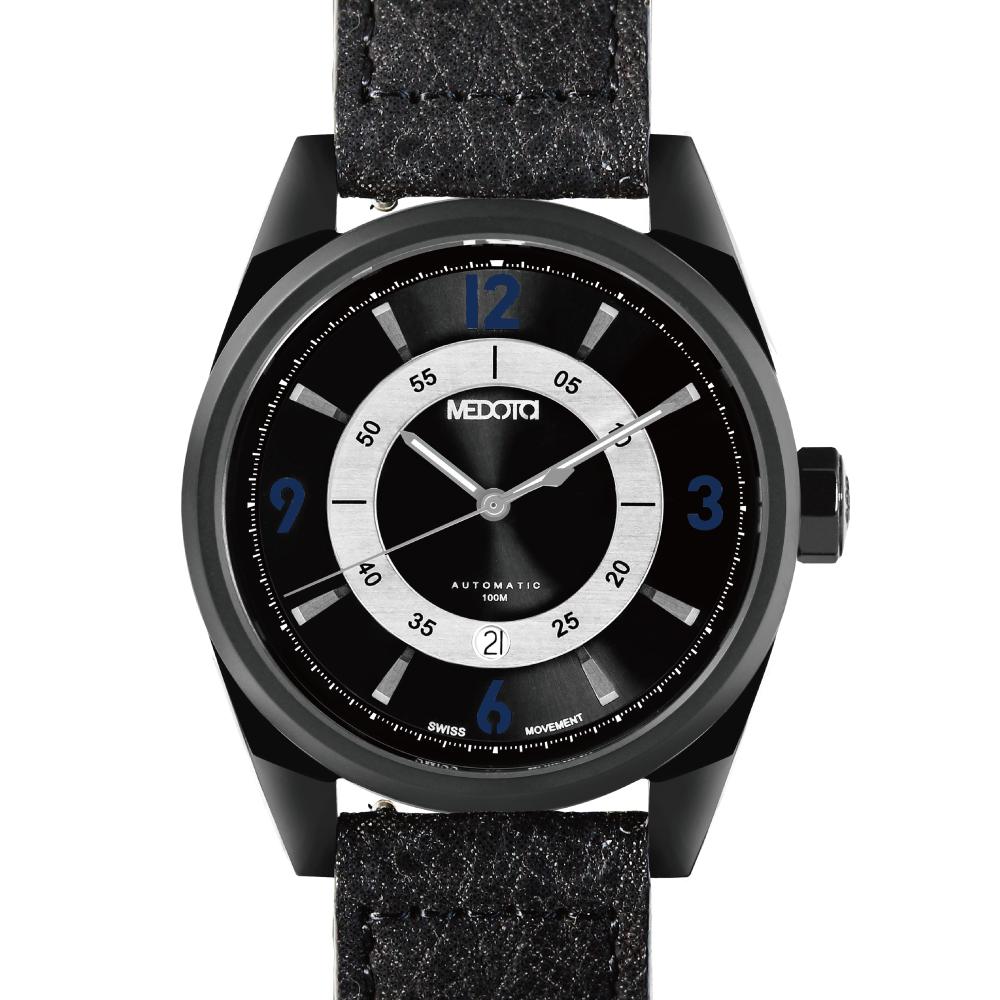 MEDOTA Grancey 伊頓系列 奢華時尚腕錶-黑/黑框/藍標/48mm
