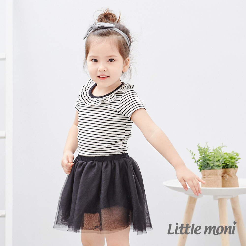 Little moni 條紋荷葉領包屁衣 (2色可選)