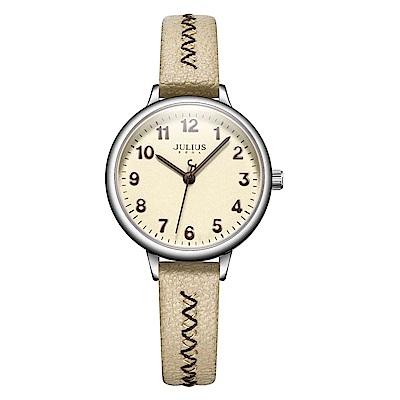 JULIUS聚利時 編織幸福簡約時尚腕錶-卡其色/29mm