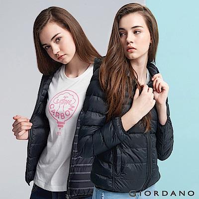 GIORDANO 女裝雙面多功能收納輕型羽絨外套 - 97 標誌黑X中花灰/標誌黑