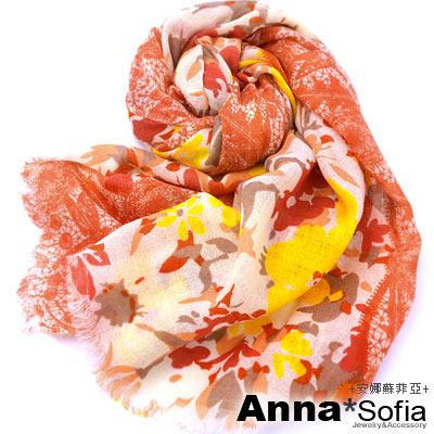 AnnaSofia-蕾絲飄花-薄款純羊毛圍巾-黃桔系