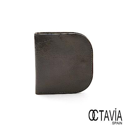 OCTAVIA8真皮 -   BACKUP  口袋式極簡式二折油蠟牛皮短夾 - 方深綠