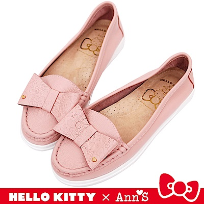 HELLO KITTY X Ann'S牛皮蝴蝶結柔軟便鞋-粉