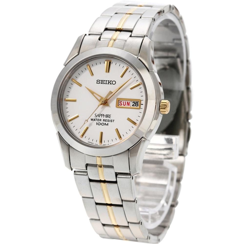 SEIKO 經典藍寶石水晶鏡面鋼帶錶(SGG719J1)-銀白x雙色版