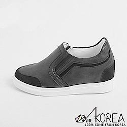 【AIRKOREA】正韓皮革質感拼接休閒鞋增高7公分-黑