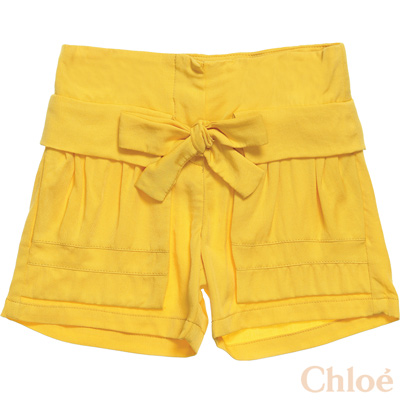 Chloe高腰蝴蝶結造型黃色短褲