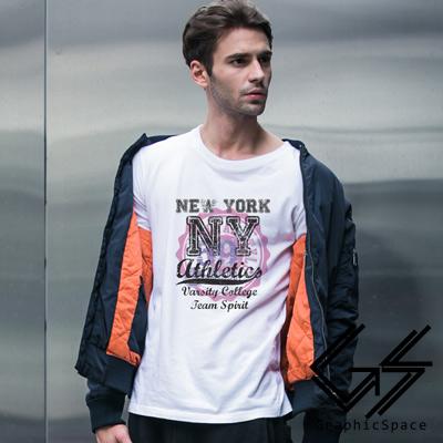 紐約59號印章磨毛水洗長袖T恤 (共三色)-GraphicSpace