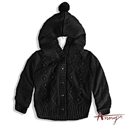 Anny可愛厚針織連帽外套*2273黑