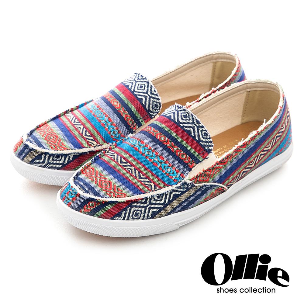 Ollie韓國空運-正韓製波西米亞民族條紋風抽鬚帆布休閒懶人鞋-藍