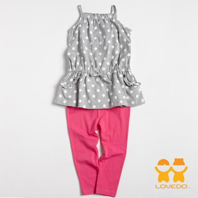 【LOVEDO-艾唯多童裝】個性吊帶點點 背心長褲兩件組套裝(灰)