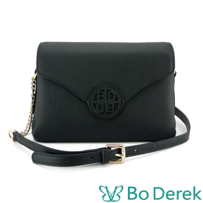 Bo Derek LOGO裝飾牛皮斜背信封包-黑