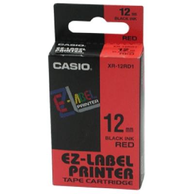 CASIO XR-12RD1紅底黑字標籤帶12m/m×8M
