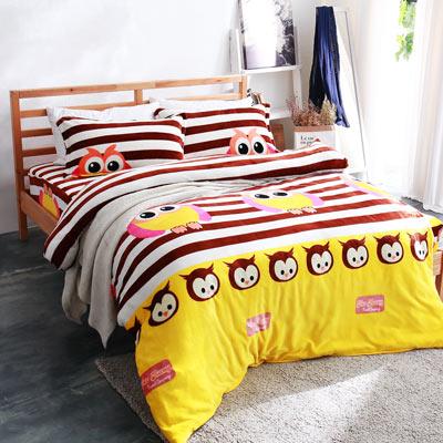 美夢元素 超柔軟法蘭絨雙人四件式床包組-貓頭鷹QQ