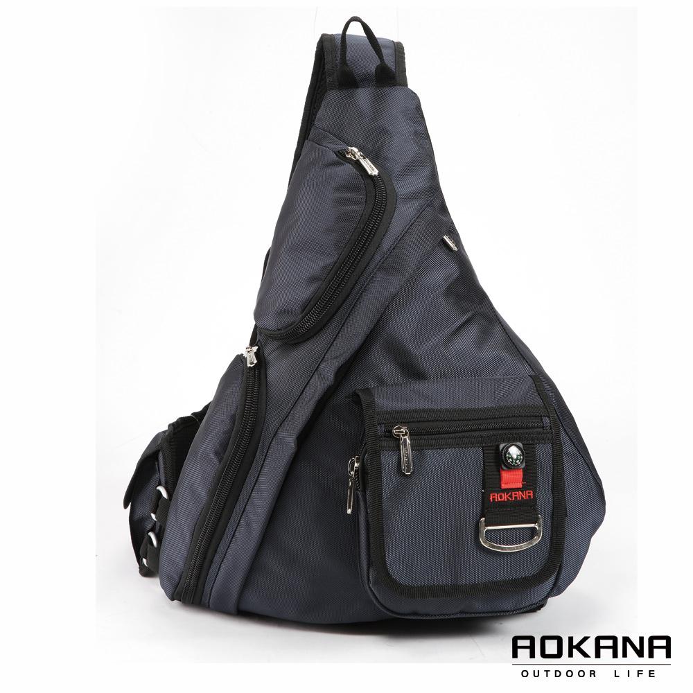 AOKANA奧卡納 輕量防潑水護脊紓壓機能單肩背包(靛藍)68-052