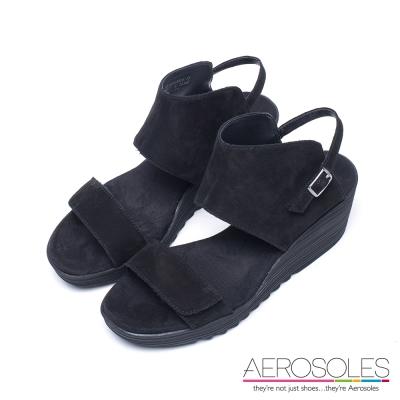 AEROSOLES-真皮寬版鏤空金屬釦涼鞋-墨黑