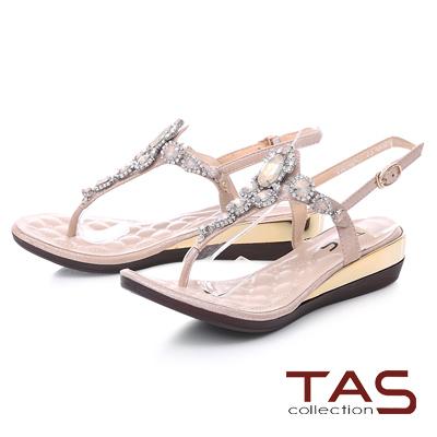 TAS 華麗水鑽夾腳金屬小坡跟涼鞋-淡雅粉