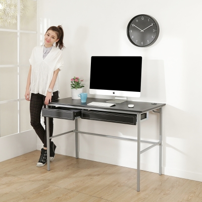 BuyJM簡單型低甲醛粗管仿黑馬鞍皮雙抽工作桌(寬120cm)-DIY