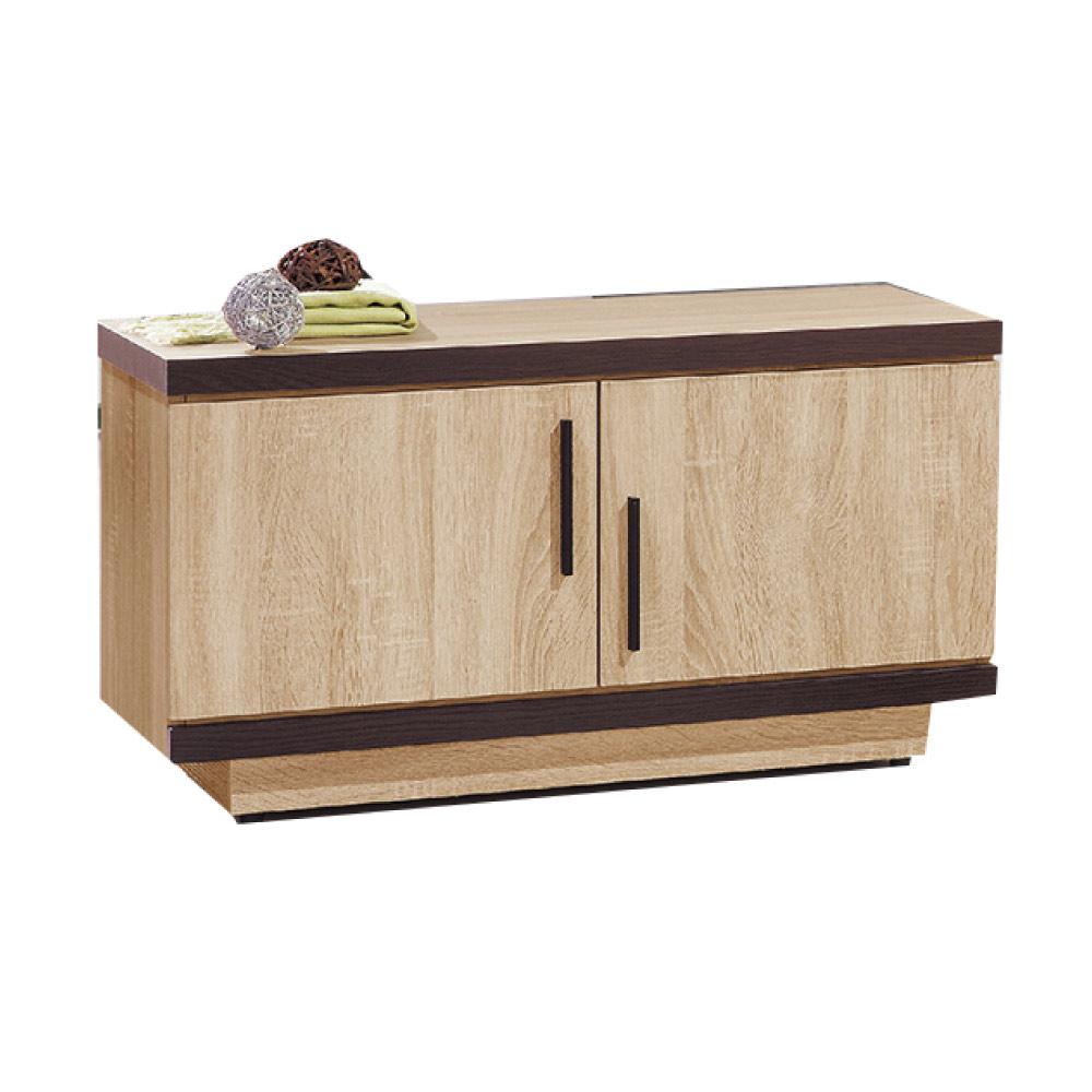 品家居  米朵拉2.8尺橡木紋二門座鞋櫃-83x40x46cm免組