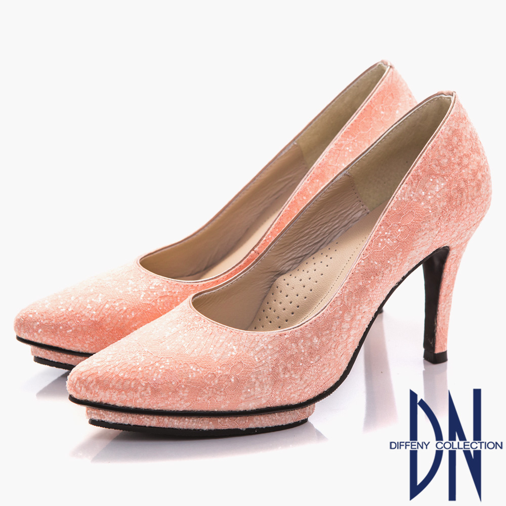 DN 幸福婚鞋 MIT 浪漫蕾絲尖頭高跟鞋-粉