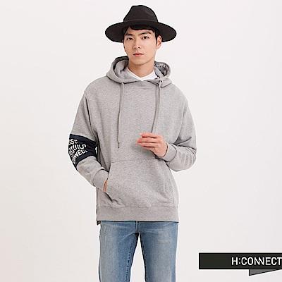 H:CONNECT 韓國品牌 男裝 - 設計拼接袖印字帽T - 灰