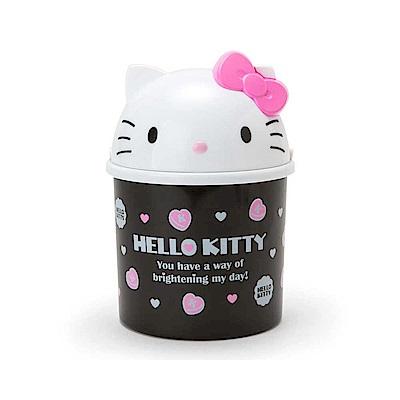 Sanrio HELLO KITTY大臉掀蓋式桌上型迷你垃圾筒(黑)