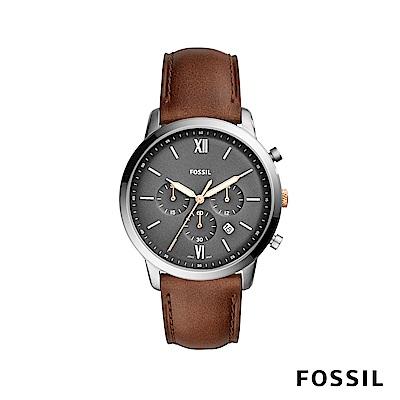 FOSSIL NEUTRA CHR 磨砂灰三眼計時男錶 咖啡色真皮錶帶 約44mm FS5408