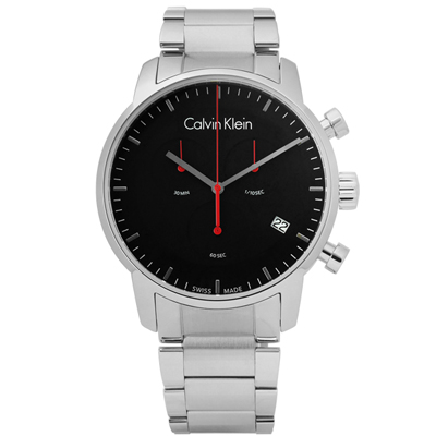 CK  經典極簡有型三環計時不鏽鋼手錶-黑色/43mm