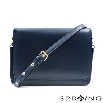 SPRING-斜背包-俐落牛皮信封包-藍